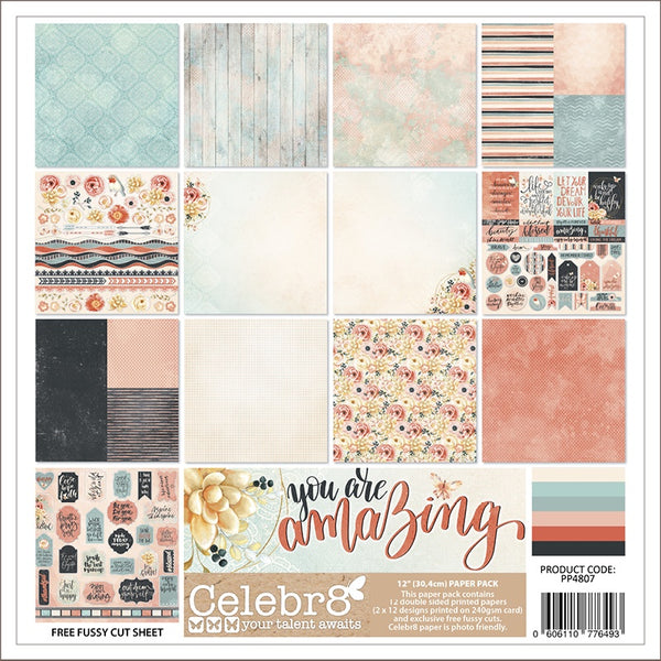 Celebr8 12x12 Paper Pack - You Are Amazing PP4807