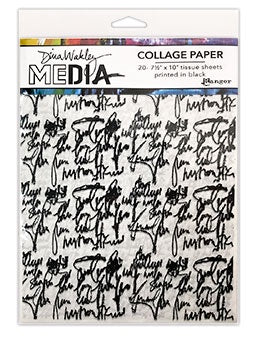 "Dina Wakley Media Collage paper - Just Words - 20 sheets (7.5""x10"") tissues printed in black MDA74618"