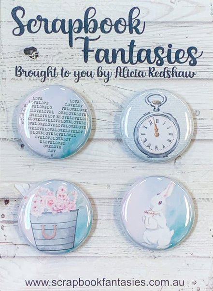 "Springtime Tea Party Flair Buttons [1""] - Mr Rabbit & Accessories (4 pieces) Designed by Alicia Redshaw Exclusively for Scrapbook Fantasies"