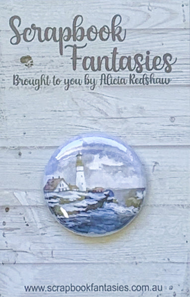 "Flair Button [1""] - Lighthouse (1 piece) Designed by Alicia Redshaw"