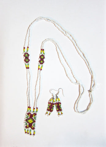 Handmade beaded necklace and earrings- Vinsuak