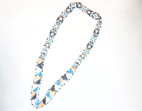 "Handmade necklace- 8 strand ""Pinakol""- Blue, grey, peach, white"