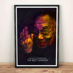'Silence Is Sometimes The Best Answer' Dalai Lama Artwork