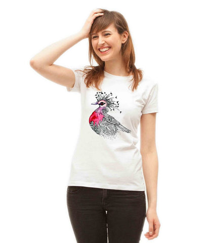 CROWNED VICTORIAN PIGEON Doodle Design Women T Shirt