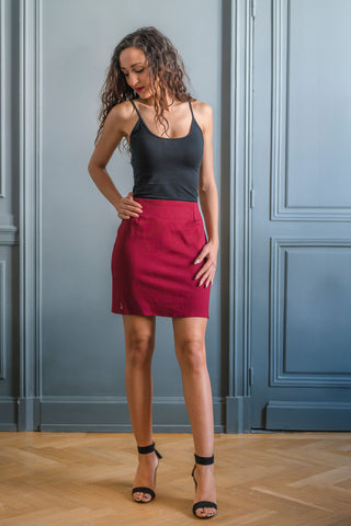 BURGUNDY HARLEM SKIRT - MADE IN FRANCE -  WITH INTEGRATED SENSOR