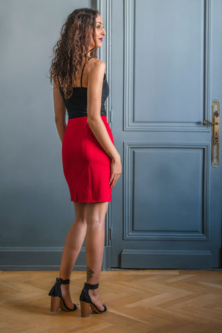 RED HARLEM SKIRT - MADE IN FRANCE -  WITH INTEGRATED SENSOR