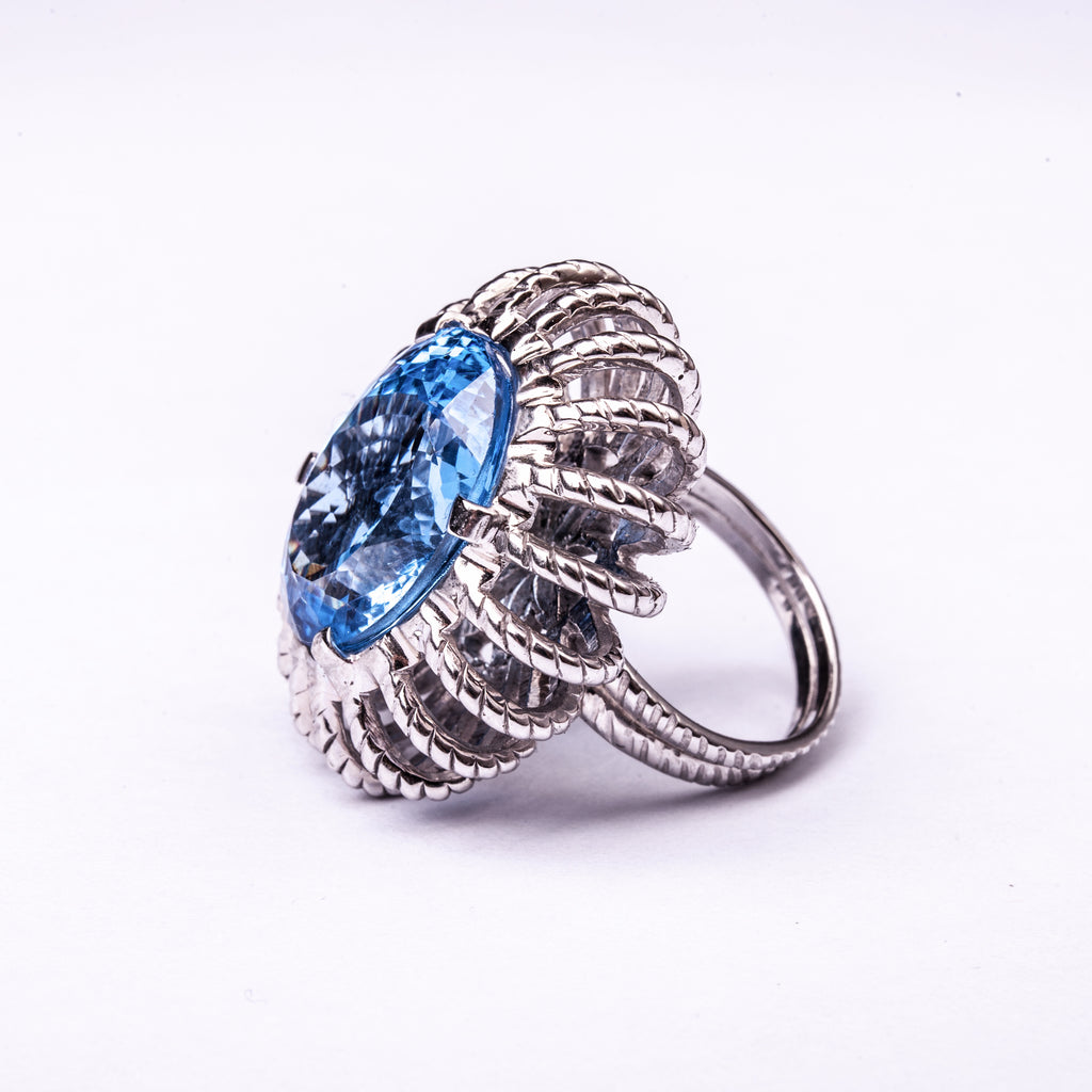 Baroque Ring Silver Blue