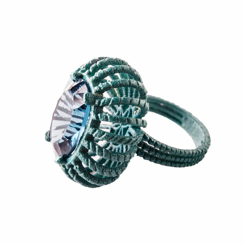 Baroque Ring 3D Blue