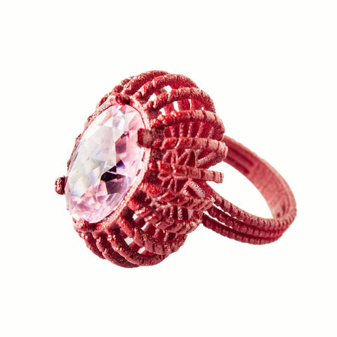 Baroque Ring 3D Red