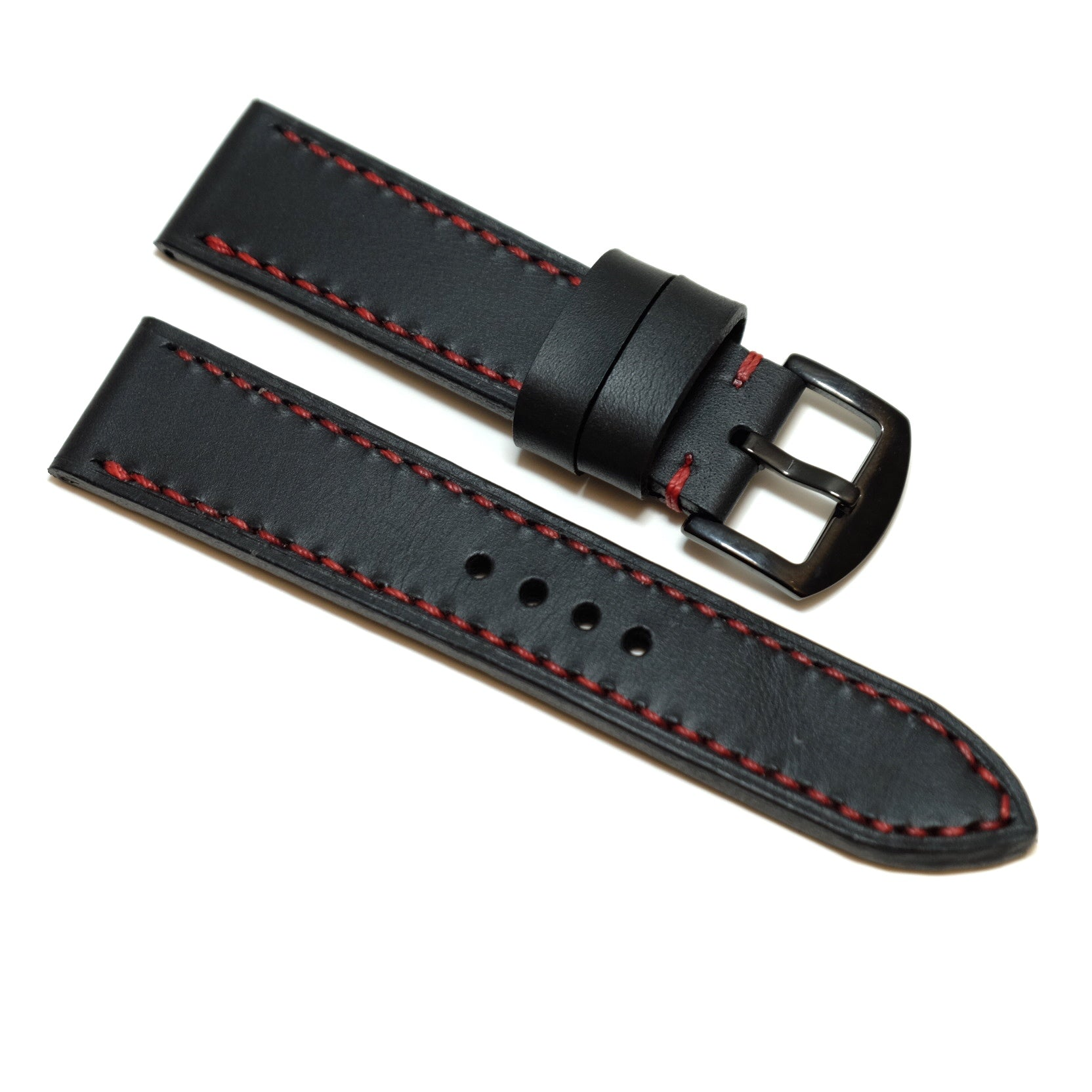 Pull up Black Full Stitching Watch Strap #02