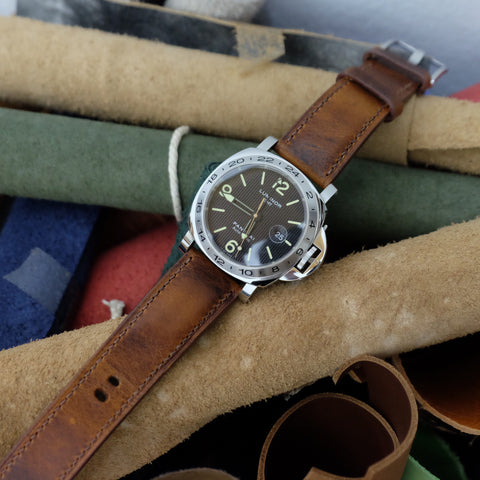 Light Brown Distressed Full Stitching Watch Strap #02