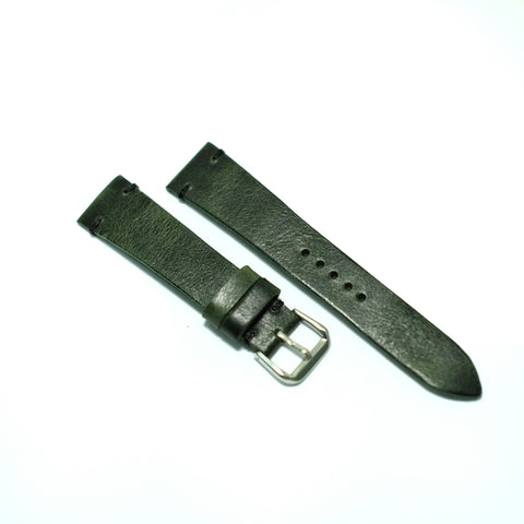 Green Distressed Watch Strap (black stitch) #01