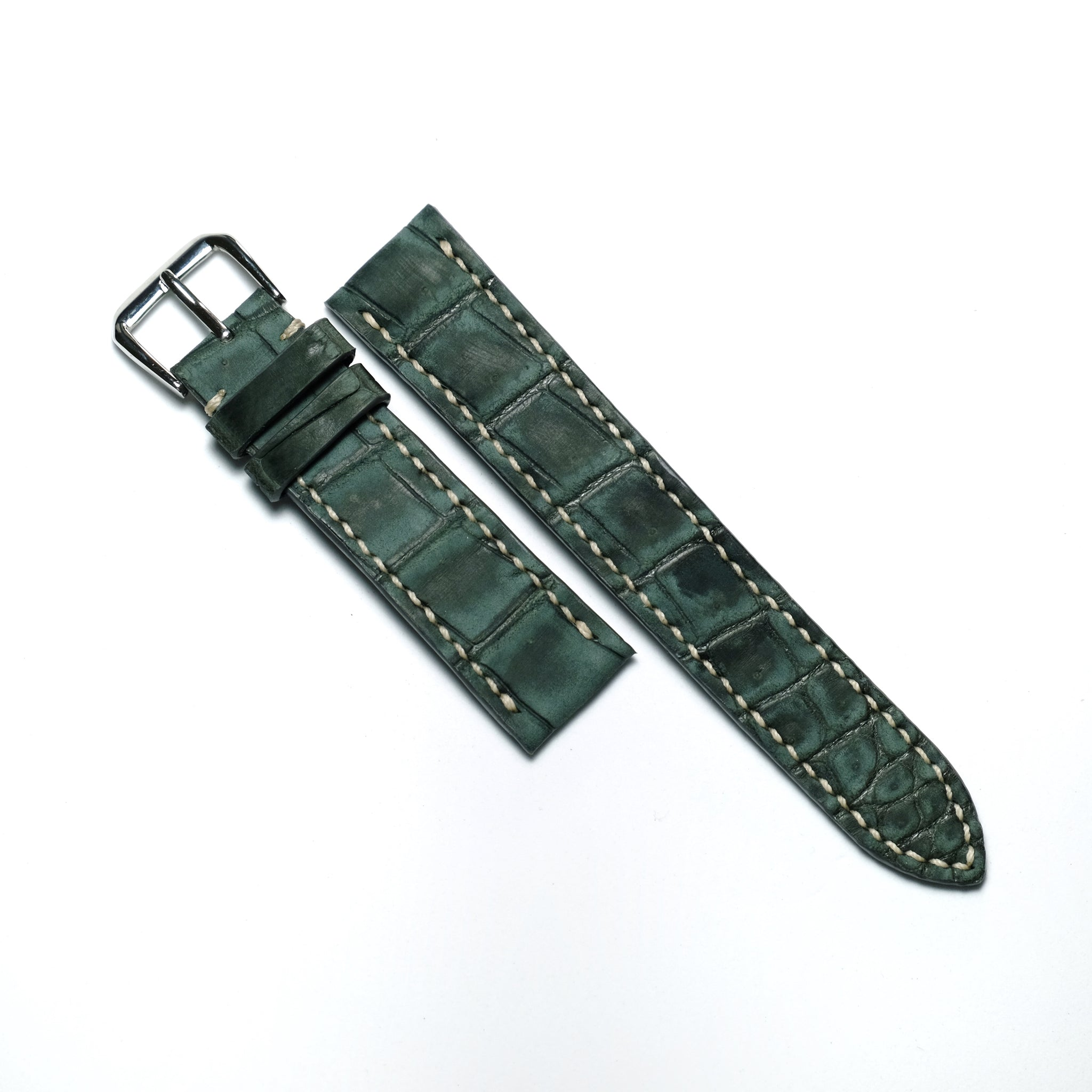 Grey Nubuck Crocodile (Belly/Tail) Full Stitching Watch Strap #02