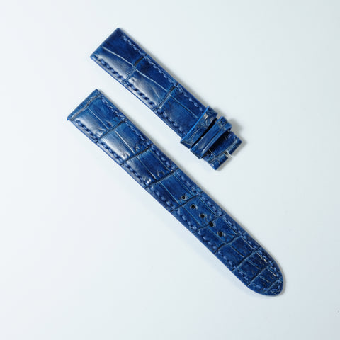 Blue Crocodile (Belly/Tail) Full Stitching Watch Strap #02
