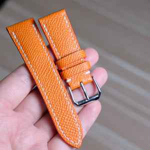Epsom Orange Full Stitching Watch Strap #02