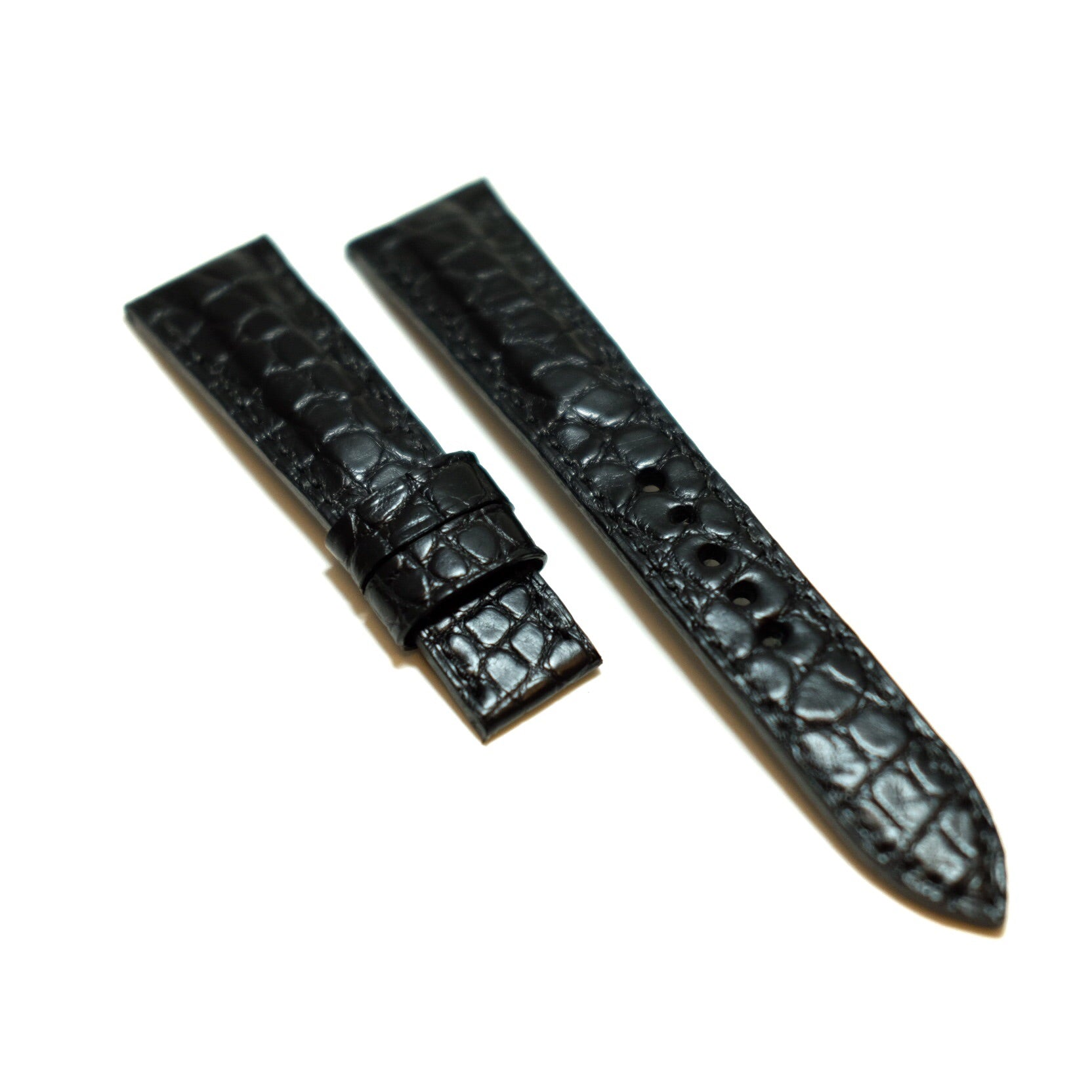 Black Crocodile Full Stitching Watch Strap #02