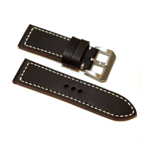 Chocolate Brown Full Stitching Watch Strap #03