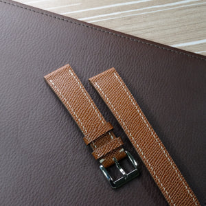 Epsom Whiskey Brown Full Stitching Watch Strap #02