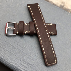 Chocolate Brown Full Stitching Watch Strap #04
