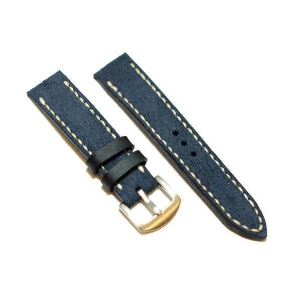 Suede Blue Full Stitching Watch Strap #02
