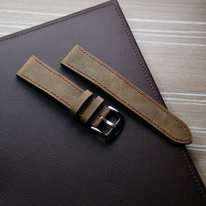 Vintage Distressed Brown Full Stitching Watch Strap #02