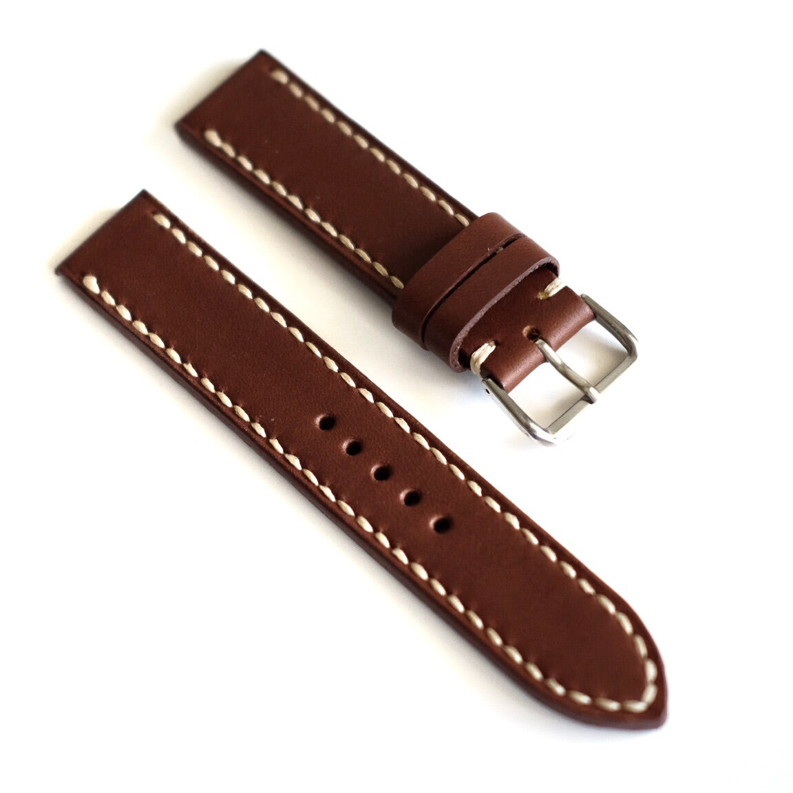 Pull Up Brown Full Stitching Watch Strap