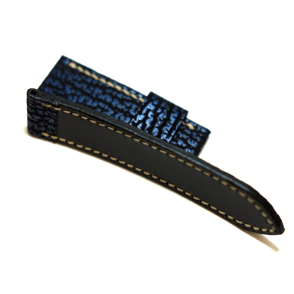 Blue Sharkskin Full Stitching Watch Strap #02