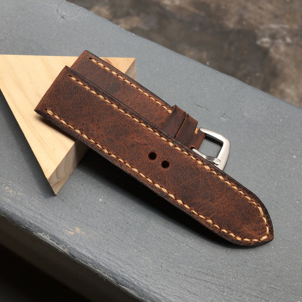 Dark Brown Distressed Full Stitching Watch Strap #02