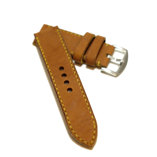 Vintage Tanned Brown Full Stitching Watch Strap #02