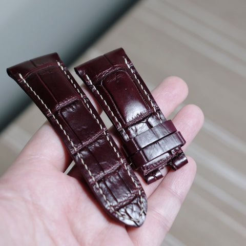 Bordeaux Crocodile (Belly/Tail) Full Stitching Watch Strap #02