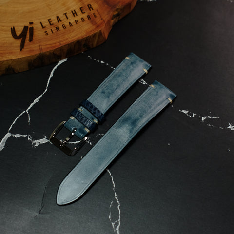 Ghost - La Bretagna Blue Leather Watch Strap #01