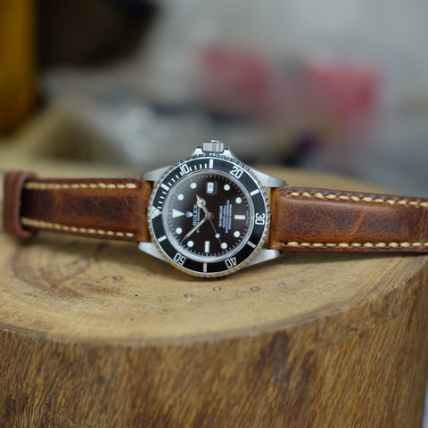 Light Brown Distressed Full Stitching Watch Strap #0S2