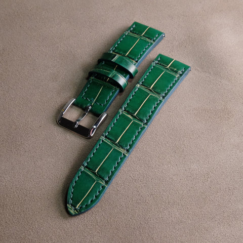 Green Crocodile with Gold Rub Off (Belly/Tail) Full Stitching Watch Strap #02