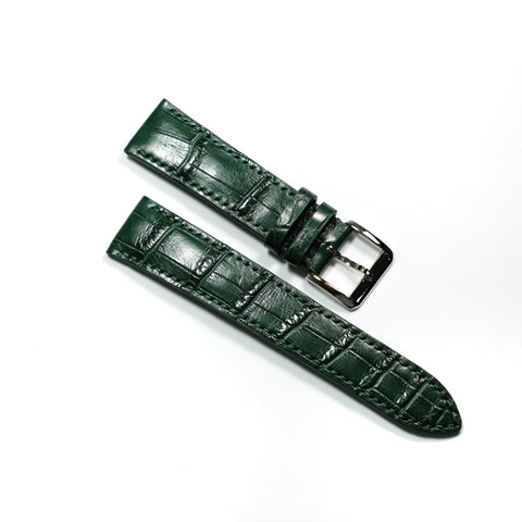 Cyprus Green Crocodile (Belly/Tail) Full Stitching Watch Strap #02