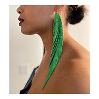 """Shake your tail feathers"" Metallic Leather Earrings - Metallic Green"