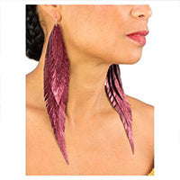 """Shake your tail feathers"" Leather Earrings - Metallic Oxblood Red"