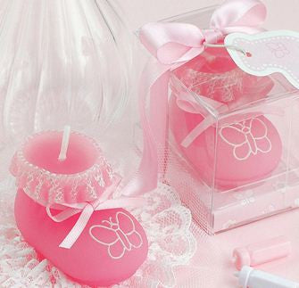 CLEARANCE: Baby Shower Candles Set - Cute Girl Shoe