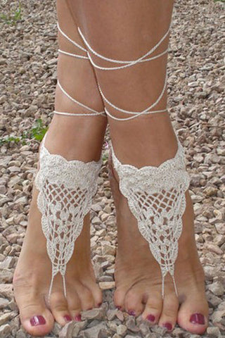 Stylish Beach Accessories - Triangle Crochet Toe Ring Barefoot Sandals - Beige Color
