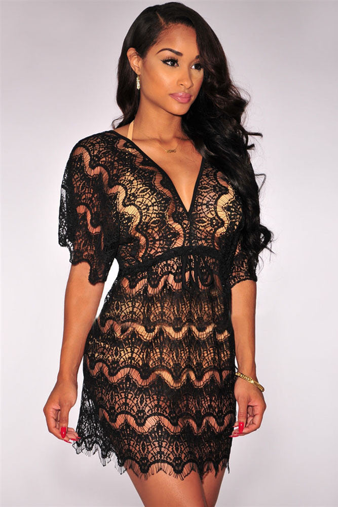 Beach Dress - Black Lace Cover up Dress
