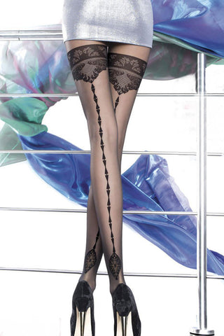 Body Stocking - Black Sheer Lace Patterned Thigh High Stockings