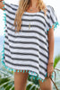 Beach Dress - Black White Stripes Pompom Trim Chiffon Beachwear