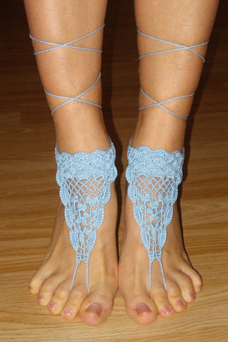 Stylish Beach Accessories - Triangle Crochet Toe Ring Barefoot Sandals - Blue Color