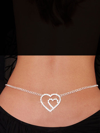Stylish Beach Accessories - Double Heart Belly Chain and Lower Back