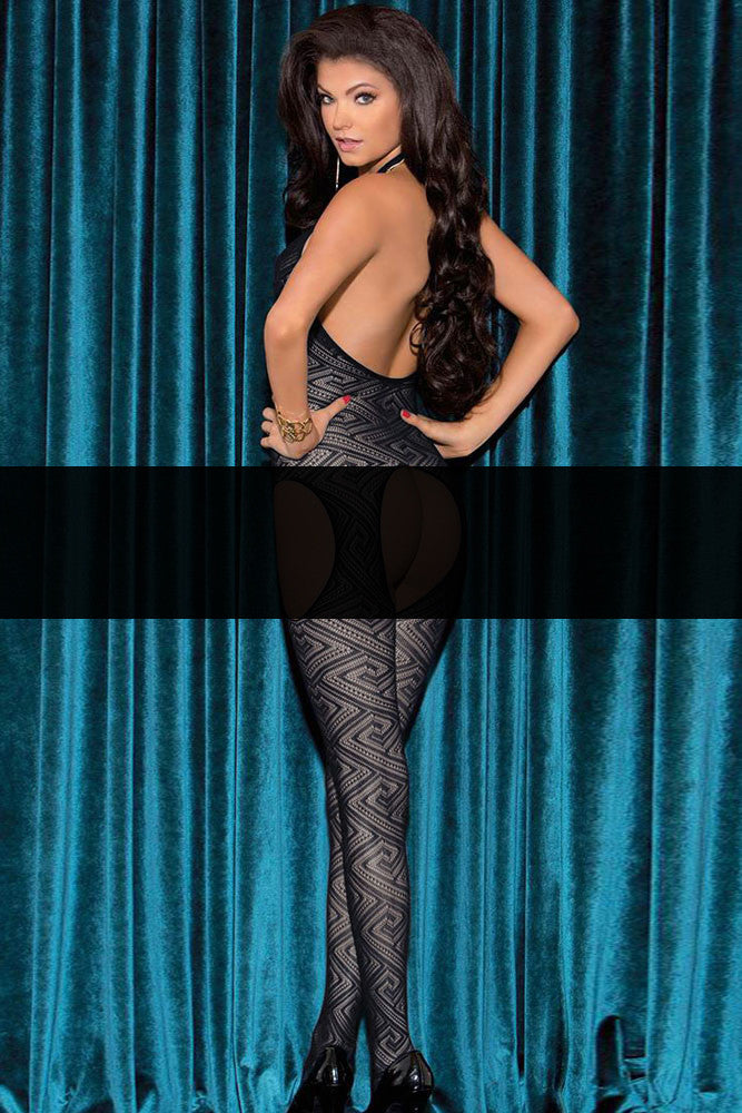Body Stocking - Cut out Open Back Halter Print Body stockings
