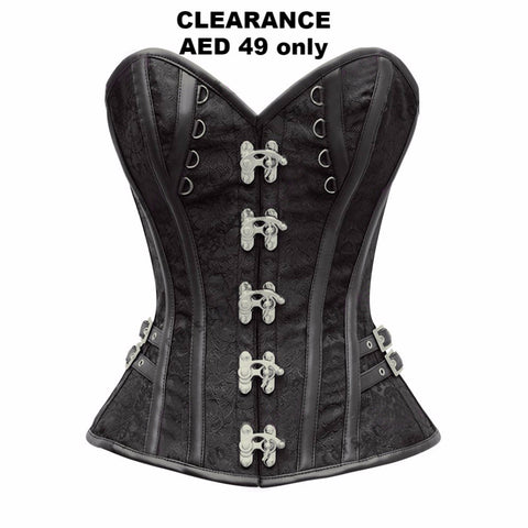Clearance - Corset - Black Steampunk Brocade Corset With Clasp