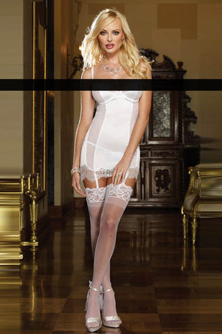 Babydoll - White Garter Chemise And Thong