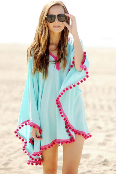 Beach Dress - Pom Pom Trim Chiffon Beach Kaftan