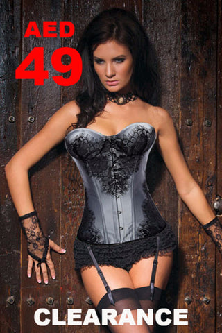 Clearance - Corsets - 2 pieces Gray Corsets with Black Lace Trimming