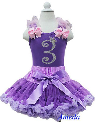 Purple Birthday Party Dress with Number 3 on it