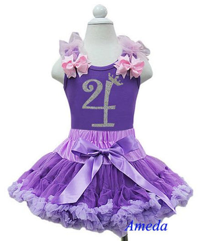 Purple Birthday Party Dress with Number 4 on it